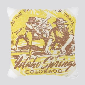 Faded Idaho Springs Colorado Woven Throw Pillow