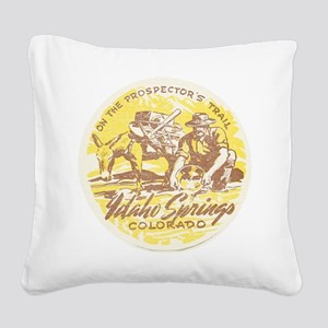 Faded Idaho Springs Colorado Square Canvas Pillow
