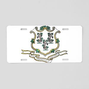 Vintage Connecticut State Flag Aluminum License Pl