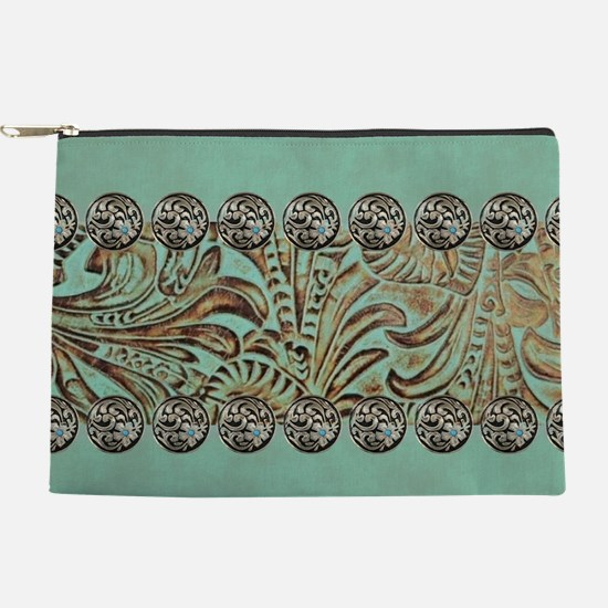 teal western tooled leather Makeup Pouch