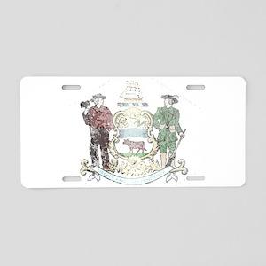 Vintage Delaware State Flag Aluminum License Plate