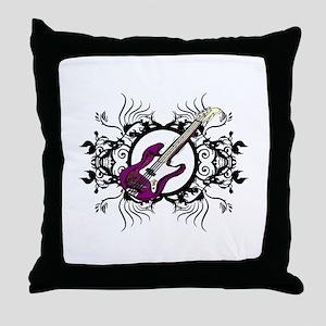 Purple Bass Black Floral Circle Design Throw Pillo