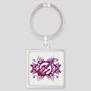 Red Bass Purple Floral Circle Design Purple Outli