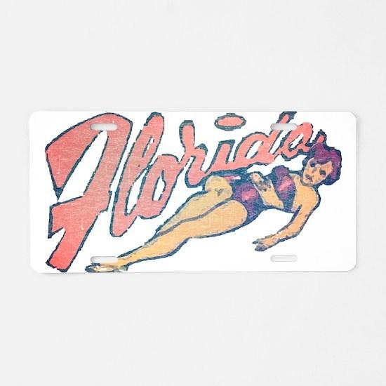 Vintage Florida Babe Aluminum License Plate
