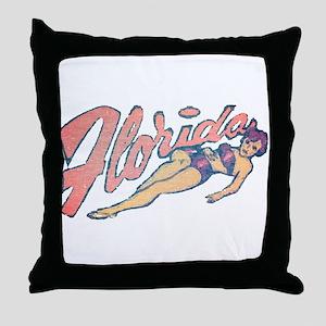 Vintage Florida Babe Throw Pillow