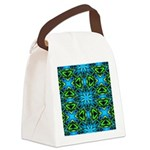 Blue and Green Stained Glass Canvas Lunch Bag