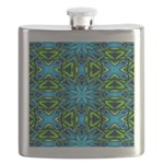 Blue and Green Stained Glass Flask
