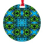 Blue and Green Stained Glass Ornament