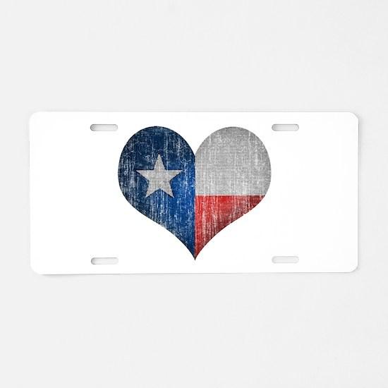 Faded Texas Love Aluminum License Plate