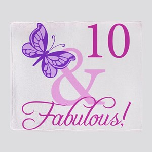 Fabulous 10th Birthday Throw Blanket