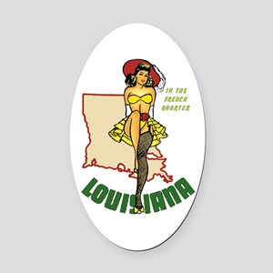 Louisiana Pinup Oval Car Magnet