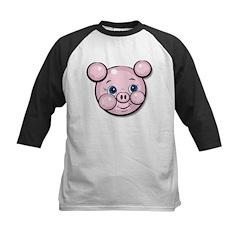 Pink Pig Cute Face Cartoon Kids Baseball Jersey