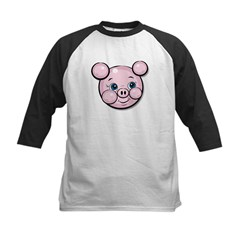 Pink Pig Cute Face Cartoon Kids Baseball Jersey