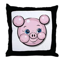 Pink Pig Cute Face Cartoon Throw Pillow