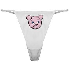 Pink Pig Cute Face Cartoon Classic Thong