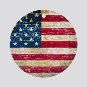 Faded American Flag Ornament (Round)