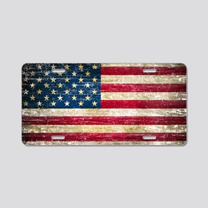 Faded American Flag Aluminum License Plate
