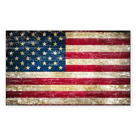 Faded american flag decal