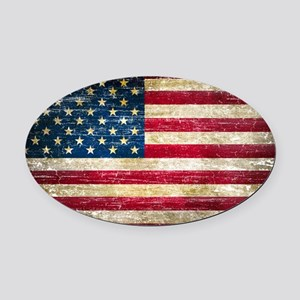 Faded American Flag Oval Car Magnet