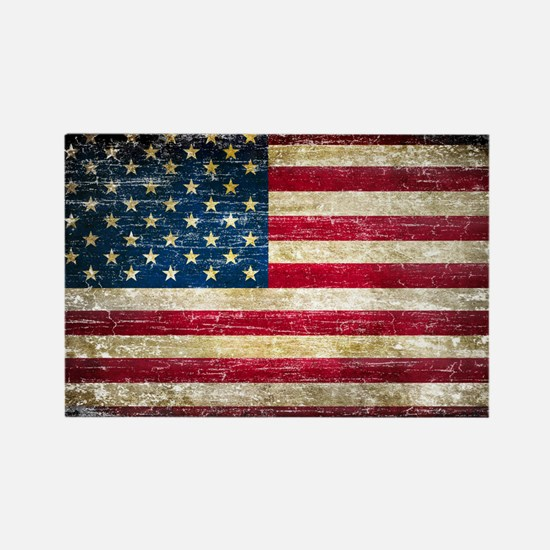 Faded American Flag Rectangle Magnet