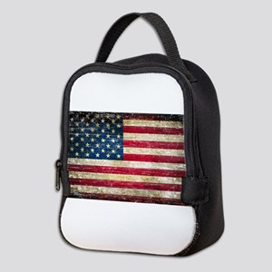 Faded American Flag Neoprene Lunch Bag