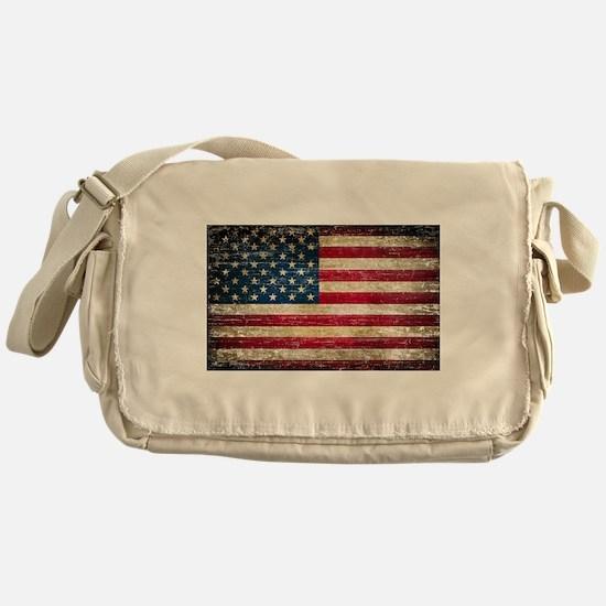 Faded American Flag Messenger Bag