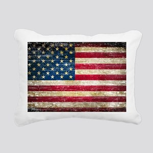 Faded American Flag Rectangular Canvas Pillow