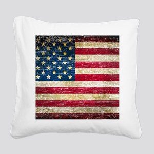 Faded American Flag Square Canvas Pillow