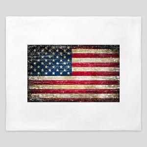Faded American Flag King Duvet