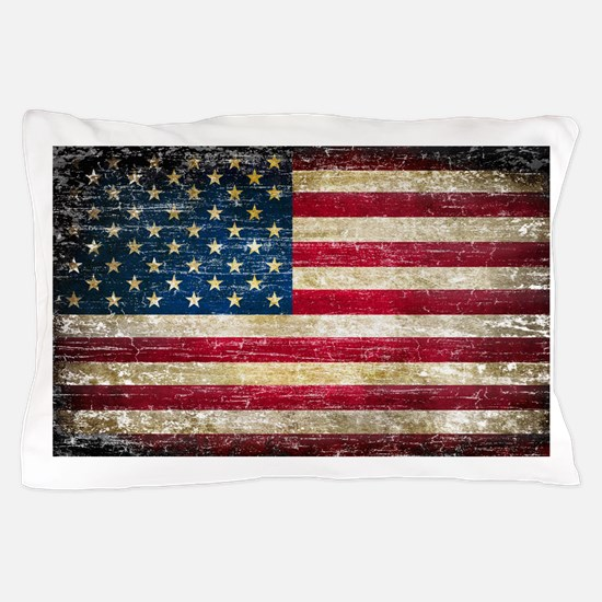 Faded American Flag Pillow Case