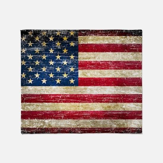 Faded American Flag Throw Blanket