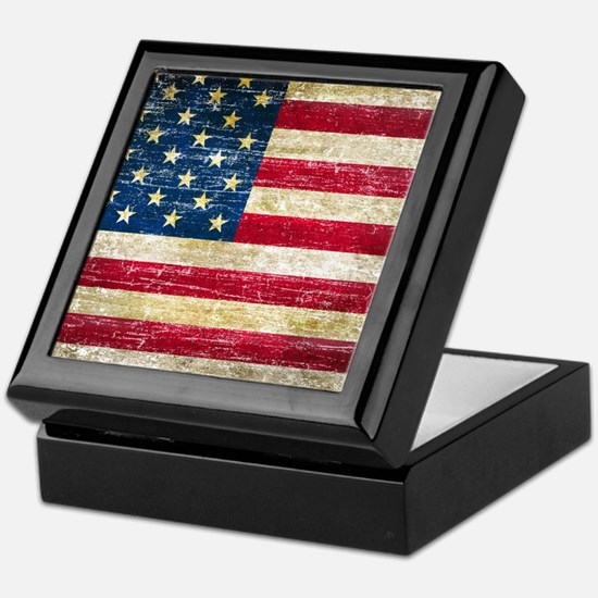 Faded American Flag Keepsake Box