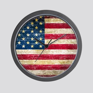 Faded American Flag Wall Clock