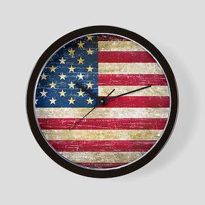Faded American Flag Wall Clock