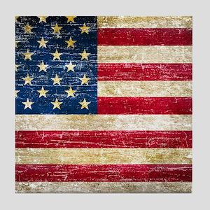 Faded American Flag Tile Coaster