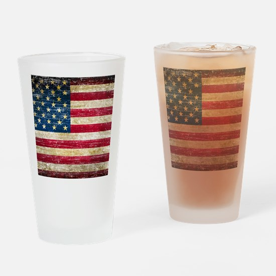 Faded American Flag Drinking Glass