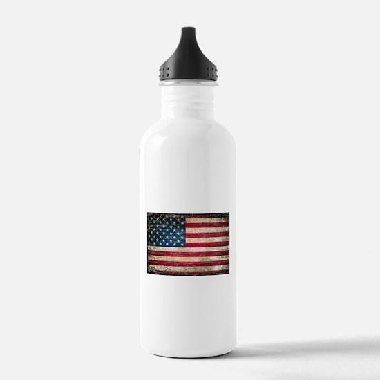 Faded American Flag Water Bottle