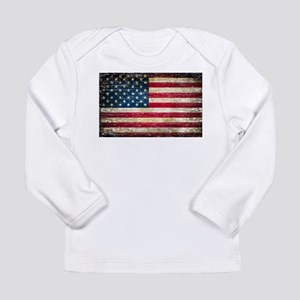 Faded American Flag Long Sleeve T-Shirt