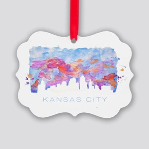 Kansas City Skyline Watercolor Ornament