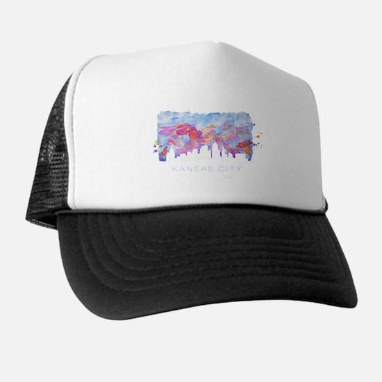 Kansas City Skyline Watercolor Trucker Hat