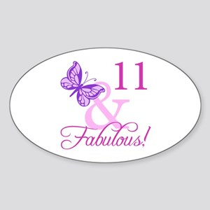 Fabulous 11th Birthday Sticker (Oval)