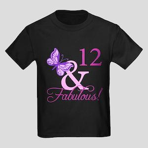 Fabulous 12th Birthday Kids Dark T-Shirt