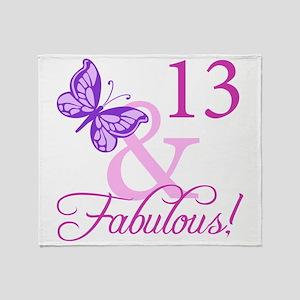 Fabulous 13th Birthday Throw Blanket