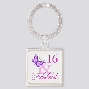 Fabulous 16th Birthday Square Keychain