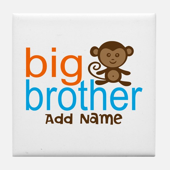Personalized Monkey Big Brother Tile Coaster