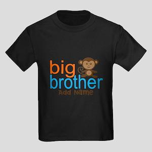 Personalized Monkey Big Brother Kids Dark T-Shirt