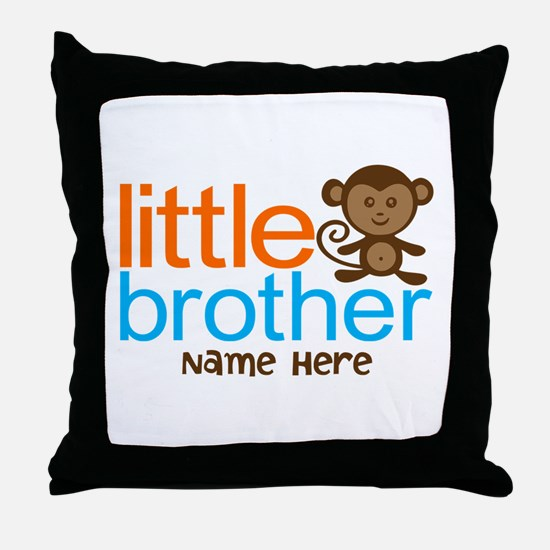 Personalized Monkey Little Brother Throw Pillow