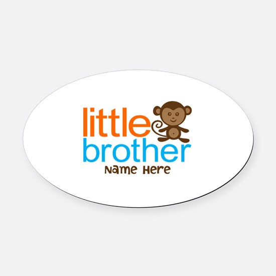 Personalized Monkey Little Brother Oval Car Magnet