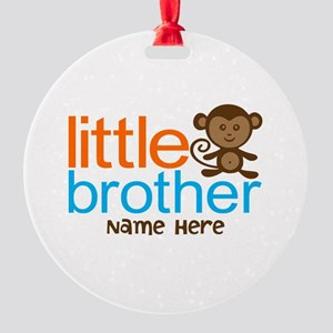 Personalized Monkey Little Brother Round Ornament