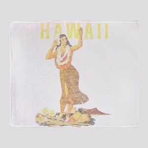 Hawaiian Pinup Hula Throw Blanket